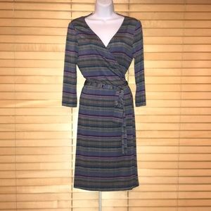 Tahari Wrap Midi, 3/4 Sleeve Dress